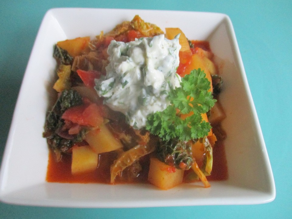 tomaten kartoffel wirsingeintopf mit frischk se topping rezept mit bild. Black Bedroom Furniture Sets. Home Design Ideas