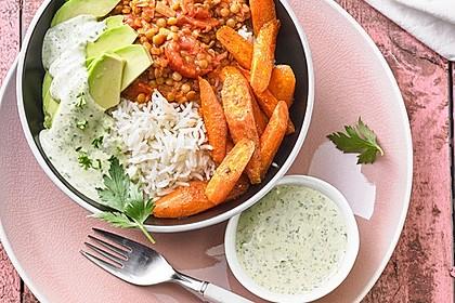Vegane Curry-Linsen-Bowl