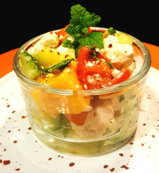 mango feta salat mit minze rezept mit bild von silenta. Black Bedroom Furniture Sets. Home Design Ideas