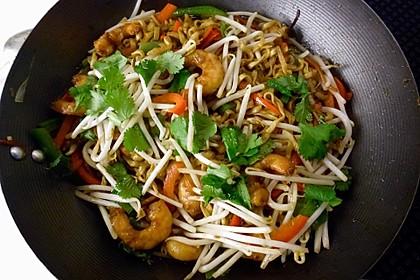 Singapur-Nudeln mit Crevetten