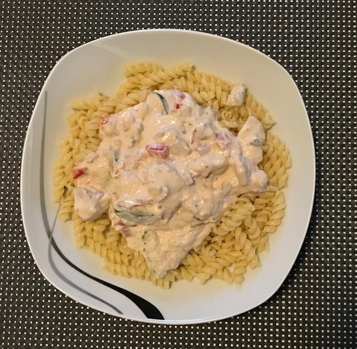 Gemüse-Hähnchen-Frischkäse-Soße (Rezept mit Bild ...