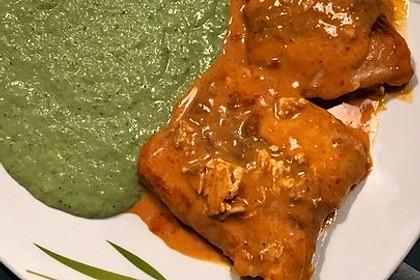 Lachs in Curry-Kokos-Soße mit Brokkolipüree 14