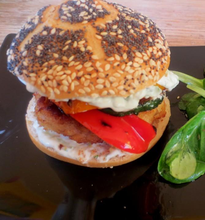 crispy chicken burger rezept mit bild von amerikanisch kochende. Black Bedroom Furniture Sets. Home Design Ideas