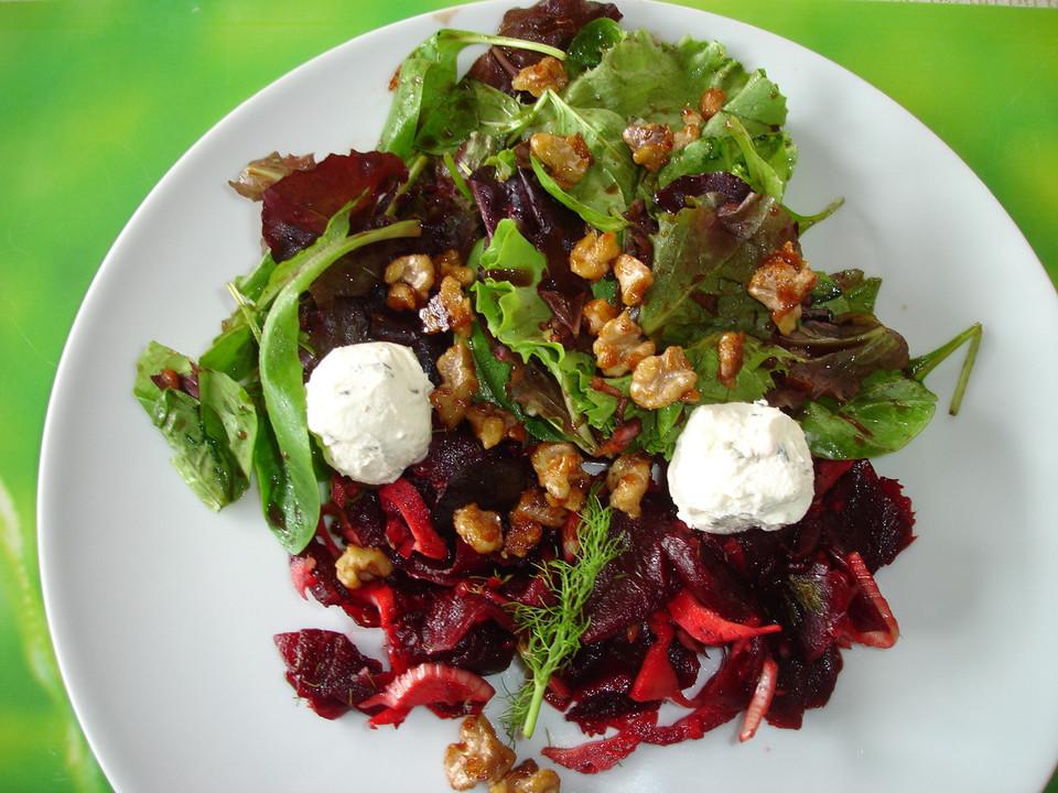 rote bete fenchel salat mit frischk se und karamellisierten waln ssen von dodith. Black Bedroom Furniture Sets. Home Design Ideas