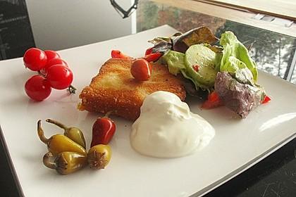 Gebackener Feta auf gemischtem Salat mit Honigdressing 2