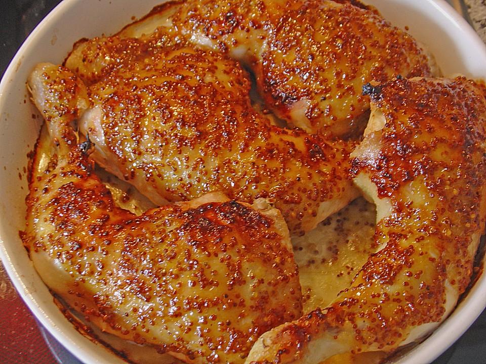 Huhn mit honig senf glasur