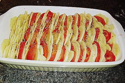 Kartoffeln-Tomaten-Basilikum Gratin 11