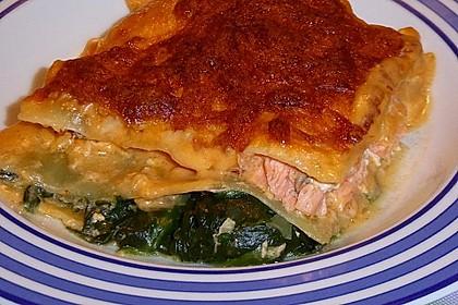 Lachs-Lasagne mit Spinat