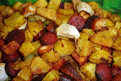 Gebackener Kürbis mit Chorizo und Oliven