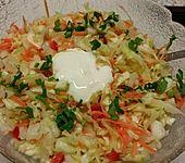 Süßsaurer Weißkohlsalat mit Paprika und Gurke