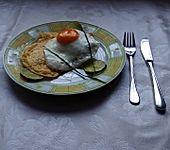 Lachs mit Spiegelei und Panko-Omelette
