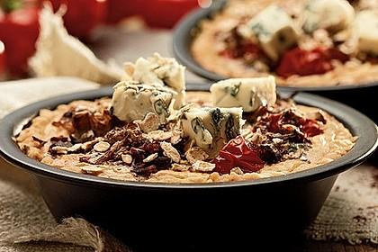 Gemüse-Tartelettes mit Saint Agur und Haferflocken