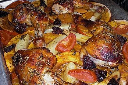 Hähnchenschenkel auf Kürbis aus dem Ofen 5