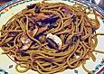Spaghettini mit frischen Champignons, Speck und Lauchzwiebeln