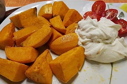 Süß-scharfer Ziegenkäsequark zu Süßkartoffeln