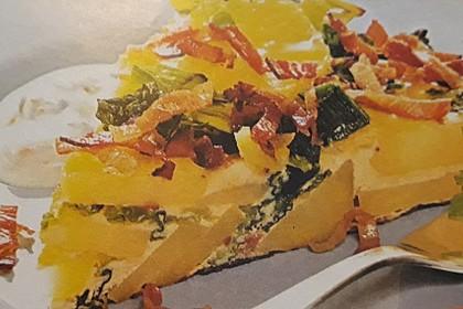 Kartoffelkuchen mit Wirsing und Dip