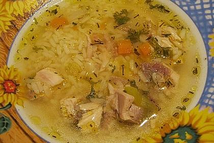 Hühnersuppe mit Reis 3