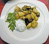 Auberginen - Kartoffelpfanne mit Kräuterjoghurt (Bild)