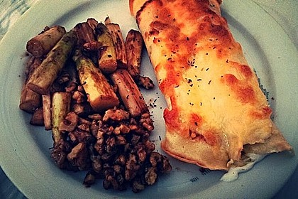 Gebratener Spargel mit Honig und Ziegenfrischkäse - Crêpes 3