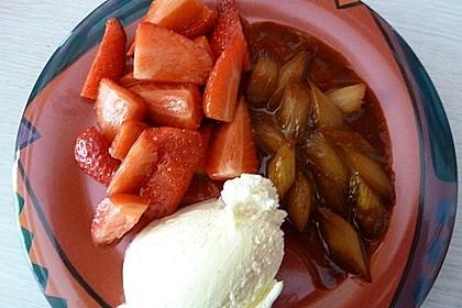 Karamellisierter Spargel mit Erdbeeren und Vanilleeis 7