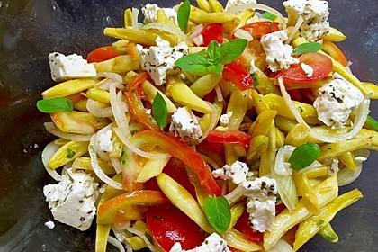 Grüne Bohnen mit Tomaten - Ruccola - Schafskäse Salat 1