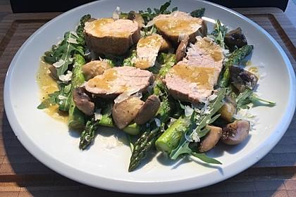 Schweinefilet mit Rucola und grünem Spargel 4