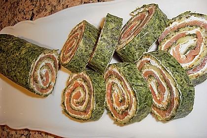 Lachsrolle mit Spinat und Frischkäse 38