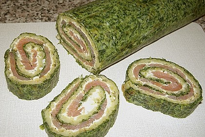 Lachsrolle mit Spinat und Frischkäse 21