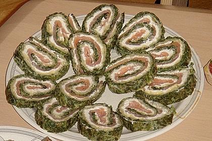 Lachsrolle mit Spinat und Frischkäse 125