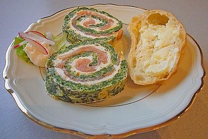Lachsrolle mit Spinat und Frischkäse 16