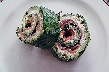 Lachsrolle mit Spinat und Frischkäse 98