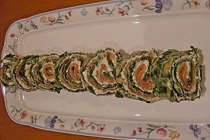 Lachsrolle mit Spinat und Frischkäse 136