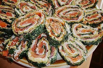 Lachsrolle mit Spinat und Frischkäse 114