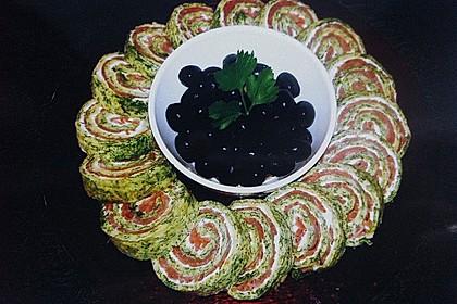 Lachsrolle mit Spinat und Frischkäse 15