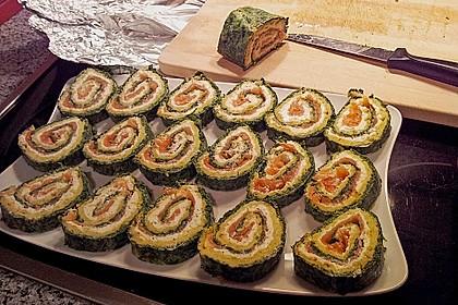 Lachsrolle mit Spinat und Frischkäse 60