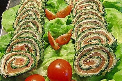 Lachsrolle mit Spinat und Frischkäse 13