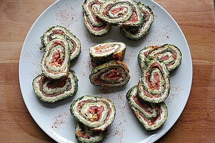 Lachsrolle mit Spinat und Frischkäse 65