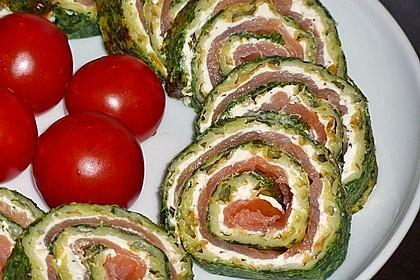 Lachsrolle mit Spinat und Frischkäse 30