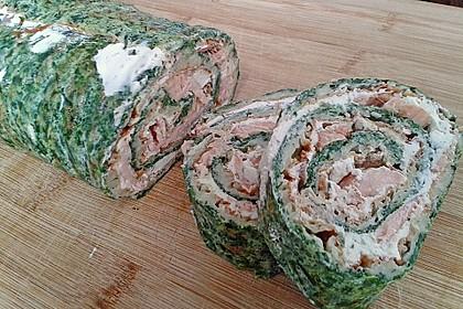 Lachsrolle mit Spinat und Frischkäse 128