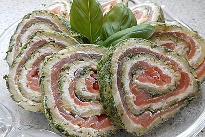 Lachsrolle mit Spinat und Frischkäse 3