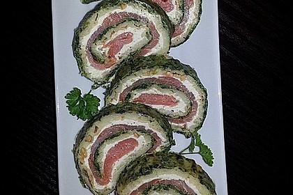 Lachsrolle mit Spinat und Frischkäse 75
