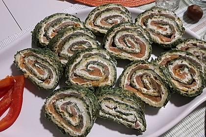 Lachsrolle mit Spinat und Frischkäse 105