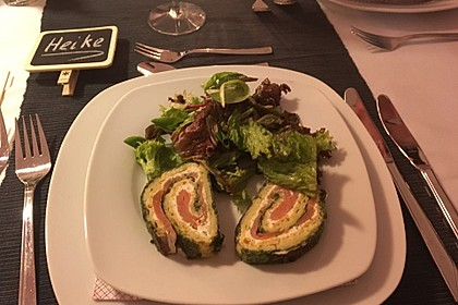 Lachsrolle mit Spinat und Frischkäse 18