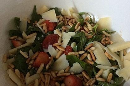 Rucola - Basilikum - Salat mit Pinienkernen und Parmesan 14