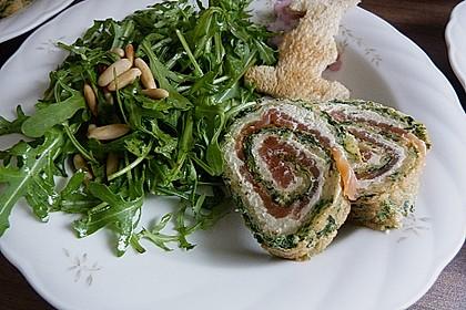 Rucola - Basilikum - Salat mit Pinienkernen und Parmesan 7