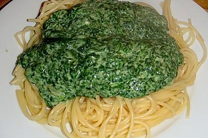 Spaghetti mit Spinatsauce 8
