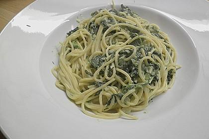 Spaghetti mit Spinatsauce 4