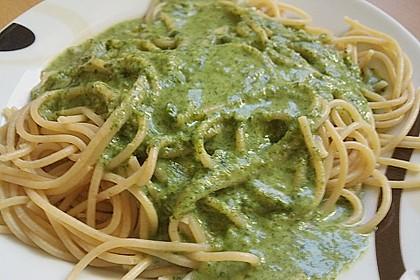 Spaghetti mit Spinatsauce 2