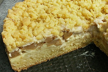 Apfel - Streuselkuchen mit Pudding 18