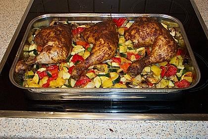 Hähnchenschenkel mit Ofen - Schmand - Gemüse 2